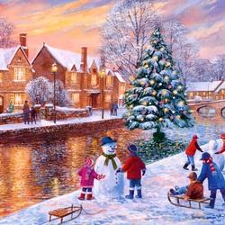Пазл онлайн: Бертон на Рождество