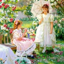 Пазл онлайн: Девочки в саду