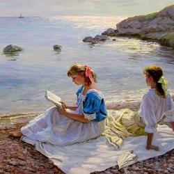 Пазл онлайн: Девушки у моря