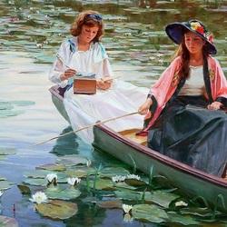 Пазл онлайн: В лодке среди лотосов