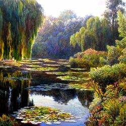 Пазл онлайн: Ива у пруда