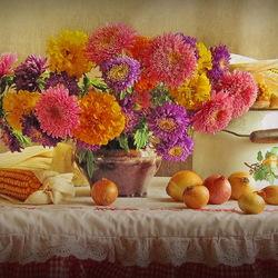 Пазл онлайн: Цветы и овощи