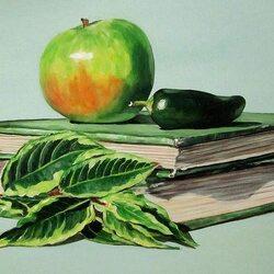 Пазл онлайн: Зелёный натюрморт