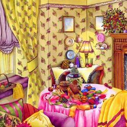 Пазл онлайн: Комната рукодельницы
