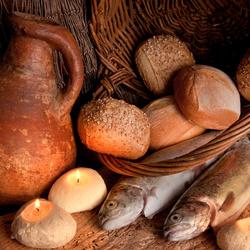 Пазл онлайн: Хлеб и рыба
