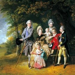 Пазл онлайн: Королева Шарлотта с детьми и братьями