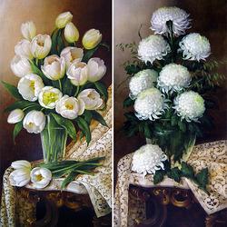 Пазл онлайн: Тюльпаны и Хризантемы