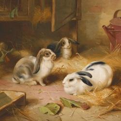Пазл онлайн: Три кролика