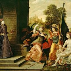 Пазл онлайн: Елизавета I и богини Юнона, Афина и Афродита