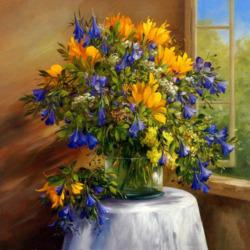 Пазл онлайн: Желто-синий букет