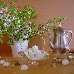 Пазл онлайн: Чай и зефир
