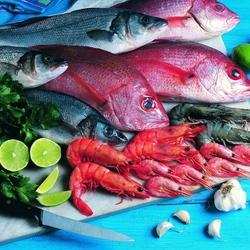 Пазл онлайн: Свежая рыба и морепродукты