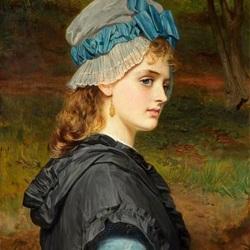 Пазл онлайн: Девушка в чепце с голубой лентой
