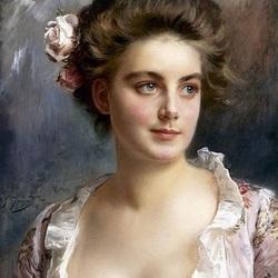 Пазл онлайн: Девушка с розой в волосах