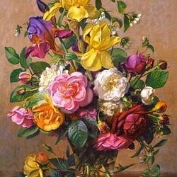 Пазл онлайн: Букет роз и ирисов