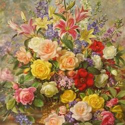 Пазл онлайн: Букет лилий и роз