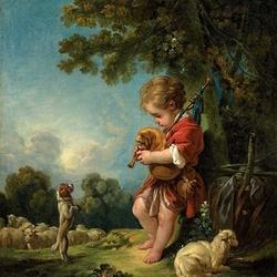Пазл онлайн: Пастушок, играющий на волынке