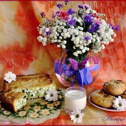 Пазл онлайн: Натюрморт с пирогом