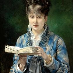 Пазл онлайн: Девушка, читающая книгу