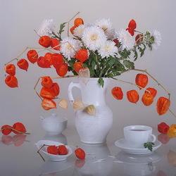 Пазл онлайн: Букет с хризантемами и физалисом
