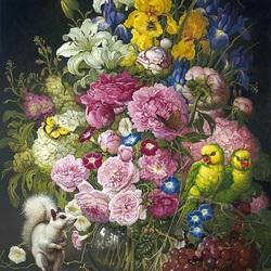 Пазл онлайн: Букет цветов и попугайчики