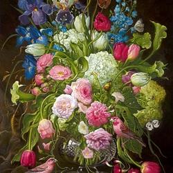 Пазл онлайн: Букет цветов и птички