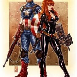 Пазл онлайн: Капитан Америка и Черная Вдова