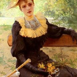 Пазл онлайн: Дама с желтым букетом