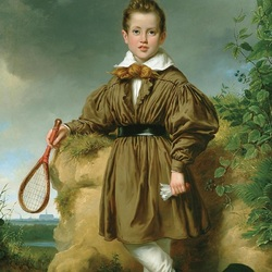 Пазл онлайн: Мальчик, играющий в бадминтон