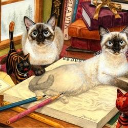 Пазл онлайн: Лежбище кошек