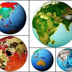 Пазл онлайн: Глобусы