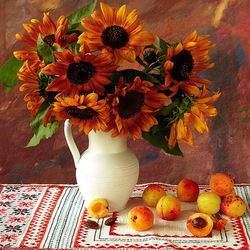 Пазл онлайн: Подсолнухи и абрикосы