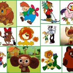 Пазл онлайн: Герои мультфильмов моего детства