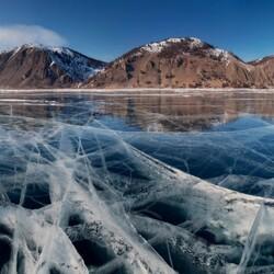 Пазл онлайн: Лед Байкала