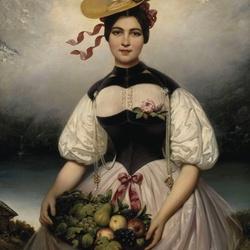 Пазл онлайн: Девушка с фруктами
