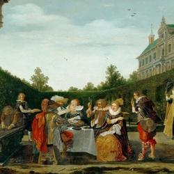 Пазл онлайн: Компания в дворцовом саду