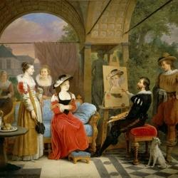 Пазл онлайн: Рубенс пишет картину в садовом павильоне