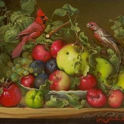 Пазл онлайн: Птички и яблоки