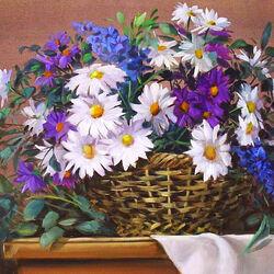 Пазл онлайн: Корзина с полевыми цветами