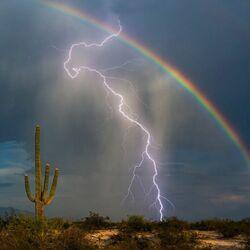 Пазл онлайн: Молния и радуга