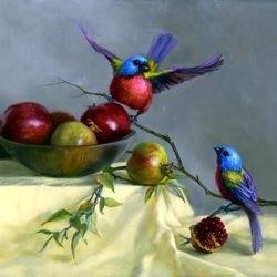 Пазл онлайн: Птицы и яблоки
