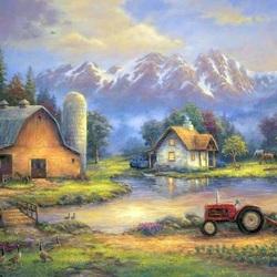 Пазл онлайн: Ферма в горах