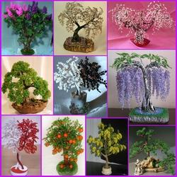 Пазл онлайн: Деревья из бисера
