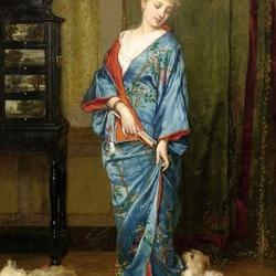 Пазл онлайн: Дама в синем кимоно