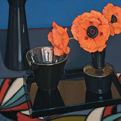 Пазл онлайн: Маки в черной вазе