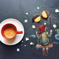 Пазл онлайн: Рисунки за завтраком