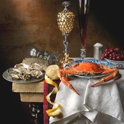 Пазл онлайн: Натюрморт с морепродуктами