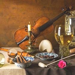 Пазл онлайн: Композиция со скрипкой
