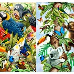 Пазл онлайн: Птицы и звери