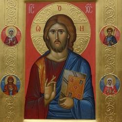 Пазл онлайн: Икона Спасителя со святыми